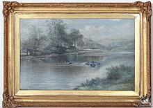 After B.W Leader,  Oil on canvas,  'The Stream in Summer- time '  Inscribed lower right  17 1/4 x 28 1/4