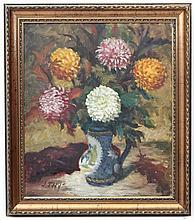 J Thys XX Belgian ,  Oil on canvas,  Still life of Dahlias in a jug vase,  Signed 'J Thys ' lower left