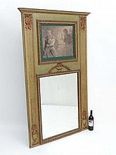 Trummeau mirror : A c.1900 French mantle mirror having bow and acanthus with urns and laurel decoration with mirror and