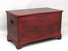 A 19thC pine comb decorated blanket box / coffer the lid hinging to reveal candle box with 2 drawers under on shaped bra