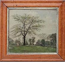 V.Reid 1876,  Oil on board,  Landscape with trees and houses,  Signed and dated 1876   10 x 11
