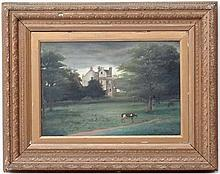 English School, late XIX,   Oil on canvas,  A wooded Park with a Jacobean Country House,  12 x 17 1/2