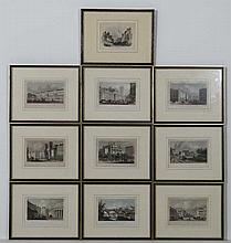 10 Steel engraving hand coloured C1818 mostly London views to include :