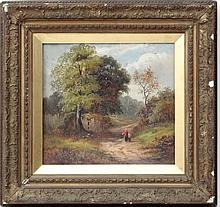 W Lewis 1891,  Oil on board,  Figures walking a path in a country vista,  Signed and dated lower right,