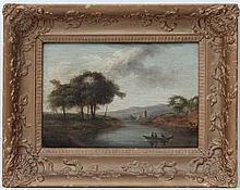 XVIII / XIX English School,  Oil on panel,  Figures in a boat in a rural vista,  6 3/4 x 9 3/4