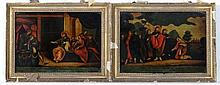 Regency Reverse Glass Mezzotints,  Pair of pictures on glass ,  ' Christ changing Water into Wine ' & ' Christ a