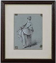 (XVII / XIX) English School,  Pen ink watercolour and gouache,   Rear view of a lady,  Unsigned, on light bl