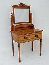 Satinwood Dressing table : a late Victorian single drawer dressing table with plain mirror and standing on 4 ring turned