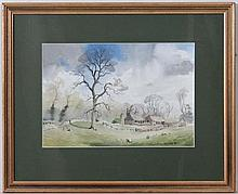 R S Hair XX,  Watercolour,  'Farm Buildings , Gayhurst , Bucks ',   Signed lower right and inscribed with da