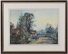 Sidney Grant Rowe (1861-1928),  Watercolour and gouache highlights,  Farm buildings with ducks on a stream,