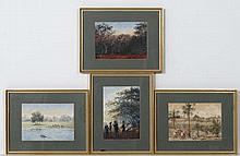Indian School early XX,  4 watercolours with Gouache highlights,   Figures carrying a Sedan chair, coming ashore