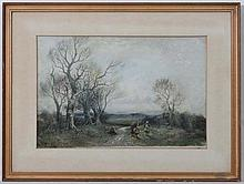William Manners ( 1860 - c1940 ),  Watercolour,  Four children gathering wood in a Landscape,  Signed lower