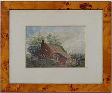 H Stonely 1872,  Watercolour,  Figure and a country cottage,  Signed and dated lower right,  6 1/8 x 6 1