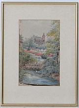 George Parsons Norman (1840-1914),  Watercolour,  A Park garden with ducks on a stream,    Signed lower righ