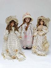 A group of 3 China headed porcelain dolls . To include an Alberon dolls '' Sophie '', a Leonardo Collectors doll '' Nata