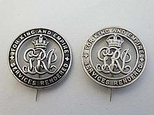 WWI  :  Two silver commemorative ' War Badges ' , numbered 491471 & 513032 , together with copies of the roll of entitle