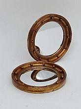 A pair of c.1920 convex gunshot gilt framed wall mirrors each 11 7/8
