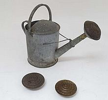 An antique garden Galvanised watering can with copper rose ( and two spare pierced copper roses ) , approximately 1 1/2
