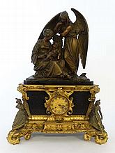 Impressive Victorian (French) Mantle Clock : a fine ormolou mounted clock surmounted by a cast and patinated bronze of a