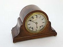 W & H Napoleon Hat Mantel Clock : having a silvered convex dial with minute markers and Roman Numeral hour markers befor