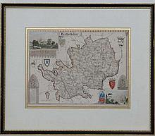 Maps: A framed and glazed map of '' Hertfordshire '' by Thomas Moule. C1840s. From a series originally produced for Rev.