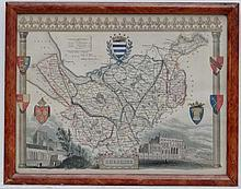 Maps: A framed and glazed map of '' Cheshire '' by Thomas Moule. C1840. From an engraving originally produced for the Re