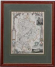 Maps: A framed and glazed map of '' Bedfordshire '' by Thomas Moule. C1840s. From a series originally produced for Rev.