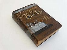 Book: A c1890s , Mrs Beetons ''Everyday cookery and housekeeping'.' Original brown cover with gilt lettering to front an
