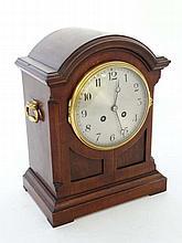 Arch shaped striking Walnut Bracket / Mantel Clock : having a silver 5