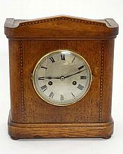 Clock : an early 20 th C H.A.C 8 day  mantle clock , with silvered dial having minute markers and Roman Numerals with in