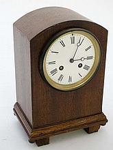 8 day  Walnut Mantel Clock : with white enamel 4 1/4