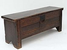 Sword chest / 6-plank coffer : A 16thC / 17thC oak sword chest with an 18thC/ 19thC  elm top , the lid opening to reveal