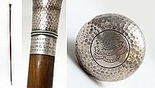 WWI : A Royal Garrison Artillery Bandleader's staff by Brigg of London ,  yew wood shaft with HM silver banding , marked
