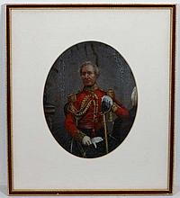 Militaria : A late Victorian portrait of a General of the British Army , in dress uniform with ceremonial sword .