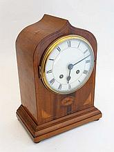 Ogee Arch Mantel Clock : an impressive inlaid Ogee Arch inlaid mahogany mantle clock , having a flat white dial with con