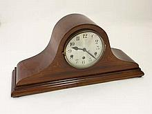 A larger Walnut Napoleon Hat 3 train Mantle Clock : a 3 train 'DRGM ' signed clock striking on straight rods , with adju