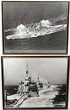 WWII : A pair of large framed Royal Naval monochrome photographs of ships on active service , one aerial photograph depi