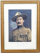 Boer War : A polychrome print of a photographic portrait of Robert Baden Powell ( founder of the Scouting movement ) , l