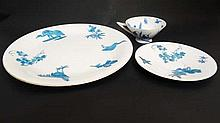 A group of three Blue and white ceramics with over painted transfer decoration depicting flowers, foliage and birds, wit