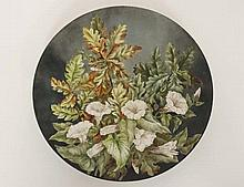 A large 19th C Brown Westhead & Moore charger painted with oak leaves and white trumpet flowers on a grey background. De