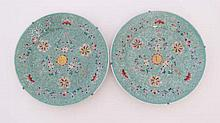 A pair of 20th C Chinese hand painted enamel decorated plates. 10'' diameter. (2)  Please Note -  we do not make ref