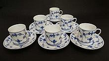 A set of 6  Royal Copenhagen '' onion '' pattern cups and saucers. Saucers 3 1/2'' diameter. Cups 1 3/4'' diameter.