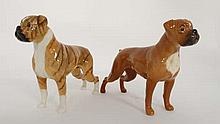 Two Beswick models of boxer dogs. One '' Blue mountain Greta '' a brindle boxer dog. The other a tan/red boxer dog. Both