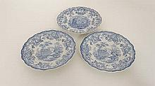 A 19th C Minton blue and white '' Pomerania '' pattern dinner plate. 10 1/2'' diameter. Together with two Minton W.Barke