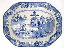 An early 19thC blue and white ironstone meat plate with well, 15 3/4