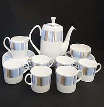 Vintage Retro : Shelley  Aegean 14283 pattern, a bone china coffee set comprising : coffee pot, sugar bowl, milk jug,6 x