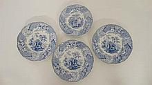 A set of 3 '' Devon '' Pattern Minton & Boyle dinner plates together with a matching fruit plate. c1940. With impressed
