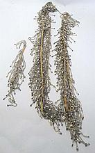 3 lengths of  early - mid 20thC faux pearl bead trims / fringing ( 1 x approx 44