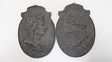 A pair of 19thC handed cast oval reliefs of the notable late 18thC poets Johann Wolfgan Von Goethe ( 1749-1832)  and  Jo
