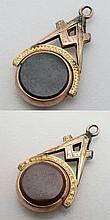 Masonic Pendant Fob: a gilt metal Compass and square with rose gilt circular revolving Cornelian and bloodstone unmarked